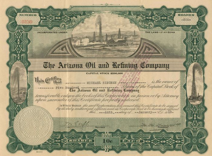 Arizona Oil and Refining Company - Stock Certificate
