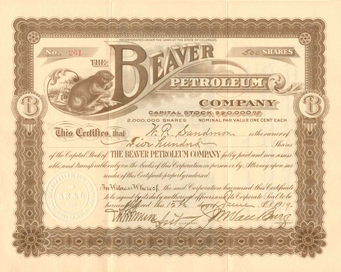 Beaver Petroleum Company - Stock Certificate