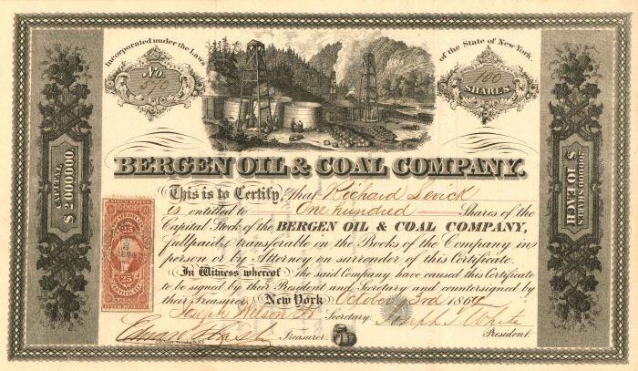 Bergen Oil & Coal Company - Stock Certificate
