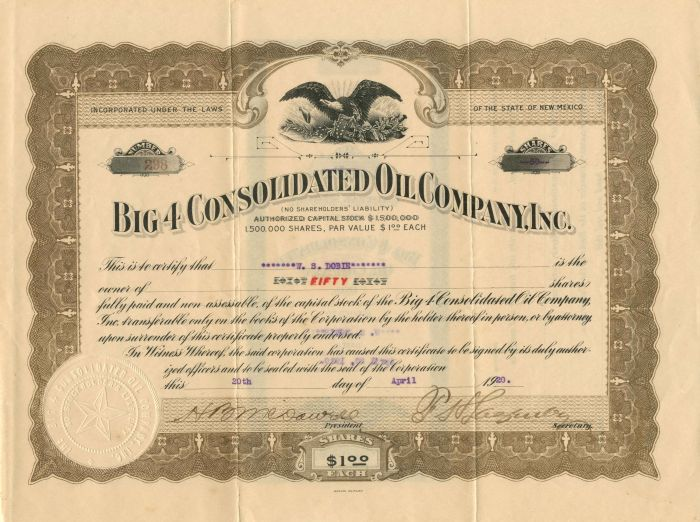 Big 4 Consolidated Oil Company, Inc. - Stock Certificate