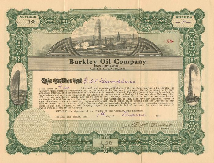 Burkley Oil Company - Stock Certificate