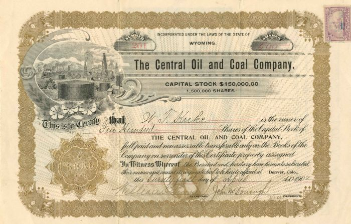 Central Oil and Coal Company - Stock Certificate - SOLD