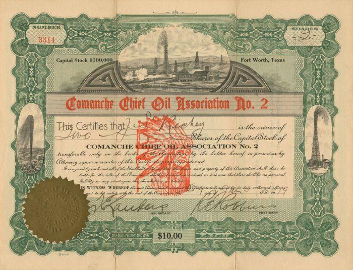 Comanche Chief Oil Association No. 2 - Stock Certificate