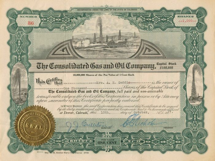Consolidated Gas and Oil Company - Stock Certificate