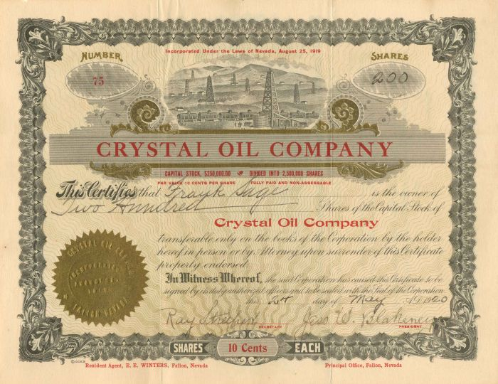 Crystal Oil Company - Stock Certificate