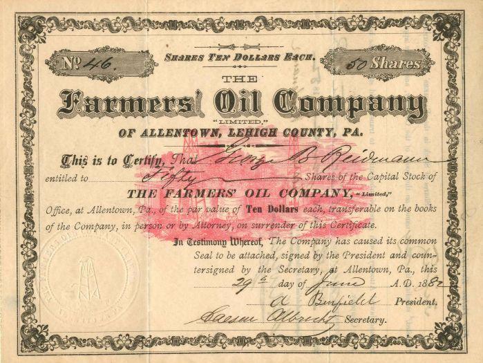 Farmers Oil Company - Stock Certificate