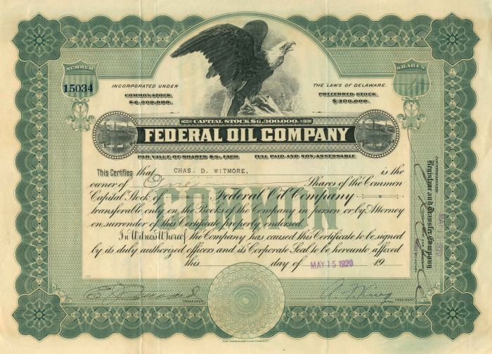 Federal Oil Company - Stock Certificate