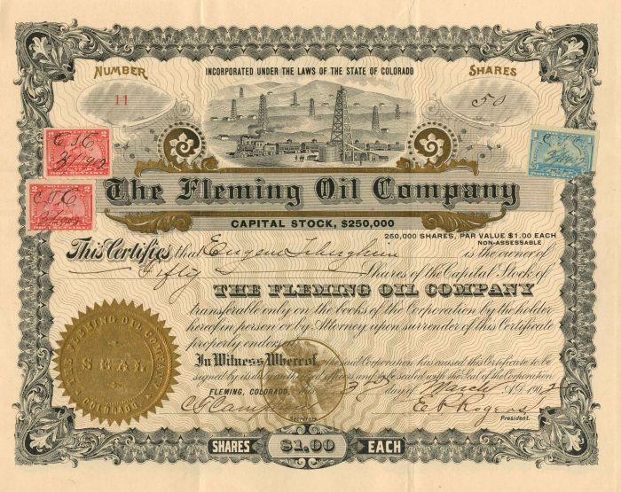 Fleming Oil Company - Stock Certificate