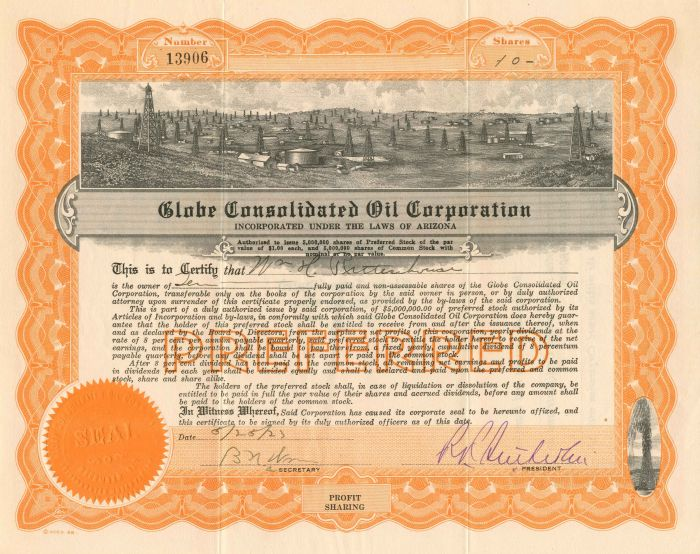 Globe Consolidated Oil Corporation - Stock Certificate