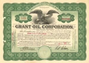Grant Oil Corporation - Stock Certificate