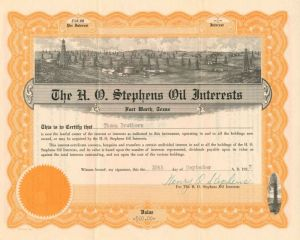 H.O. Stephens Oil Interests - $60.00 - Bond