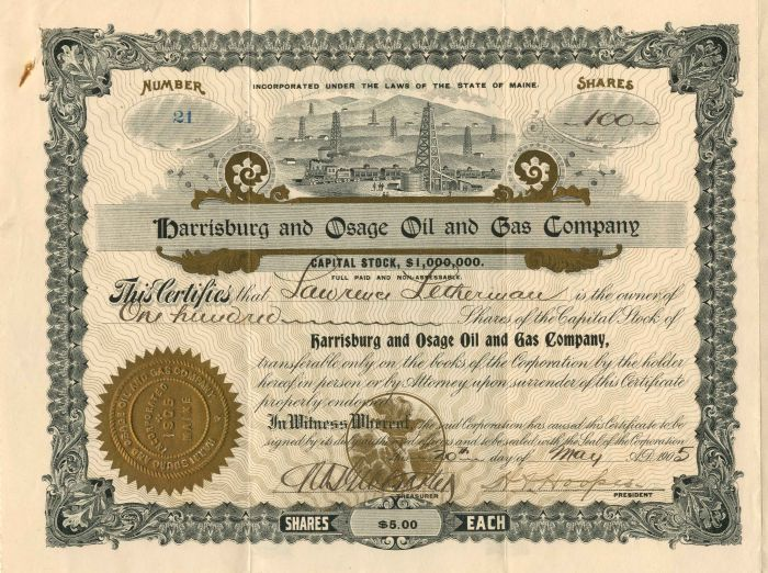 Harrisburg and Osage Oil and Gas Company - Stock Certificate