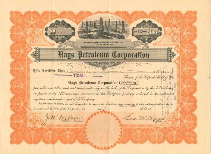 Hays Petroleum Corporation - Stock Certificate