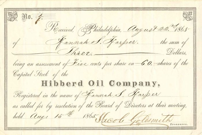 Hibberd Oil Company - Stock Certificate - SOLD