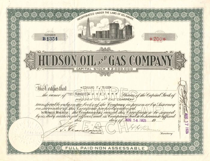 Hudson Oil and Gas Company - Stock Certificate