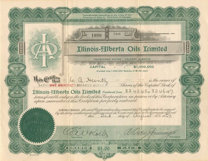 Illinois-Alberta Oils Limited - Stock Certificate