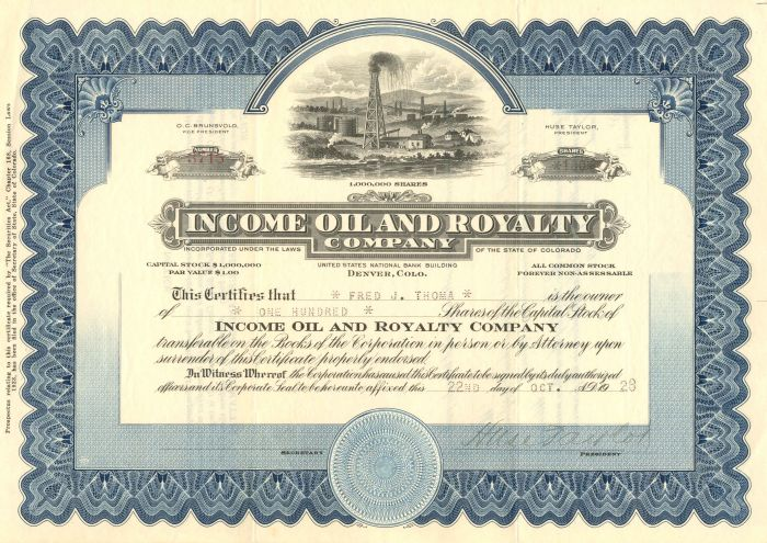 Income Oil and Royalty Company - Stock Certificate