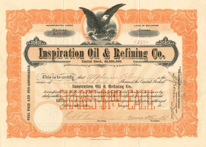 Inspiration Oil & Refining Co. - Stock Certificate
