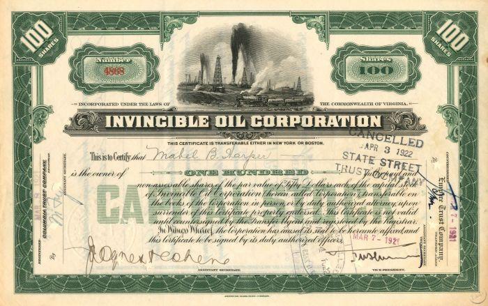 Invincible Oil Corporation - Stock Certificate