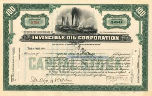 Invincible Oil Corporation - Stock Certificate
