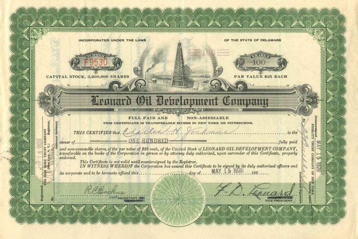 Leonard Oil Development Company - Stock Certificate