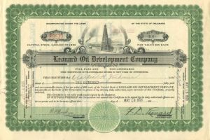 Leonard Oil Development Company - Stock Certificate