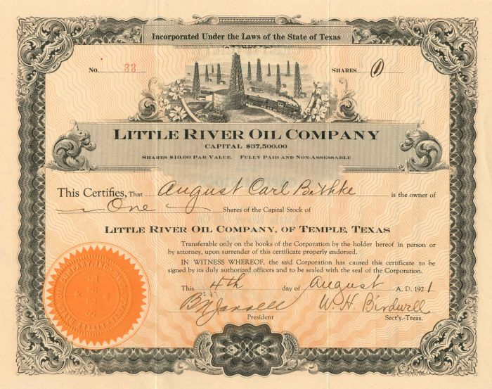 Little River Oil Company - Stock Certificate