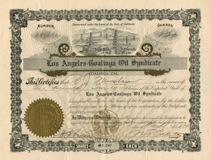Los Angeles-Coalinga Oil Syndicate - Stock Certificate - SOLD