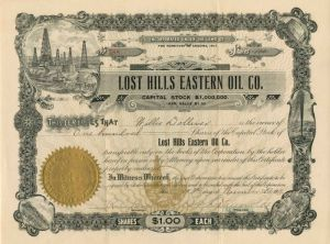 Lost Hills Eastern Oil Co. - Stock Certificate