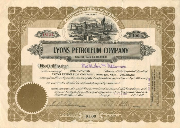 Lyons Petroleum Company - Stock Certificate