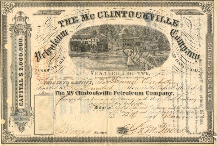 Mc Clintockville Petroleum Company - Stock Certificate