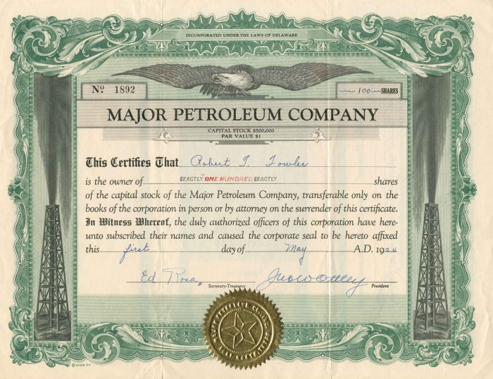 Major Petroleum Company - Stock Certificate