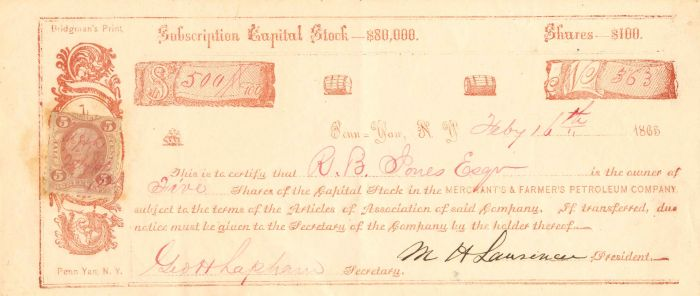Merchant's & Farmer's Petroleum Company - Stock Certificate
