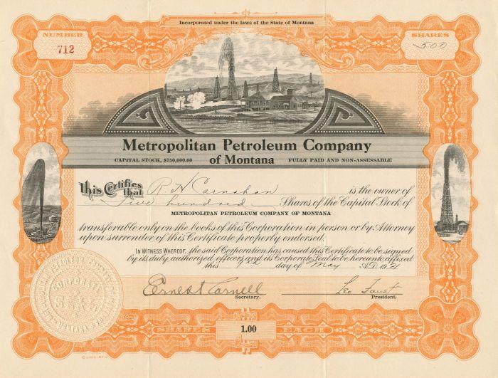 Metropolitan Petroleum Company - Stock Certificate
