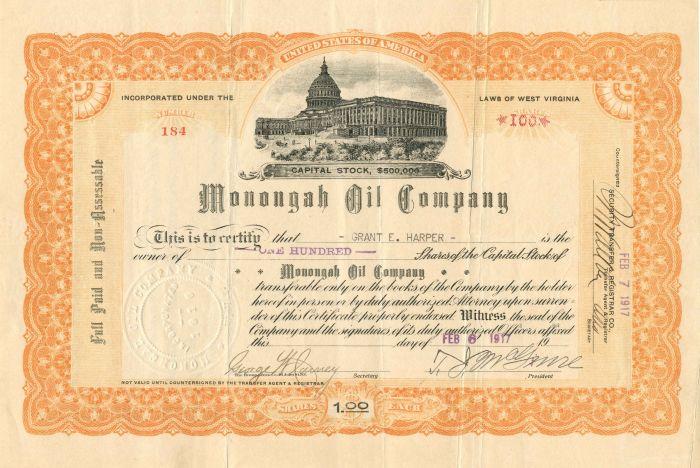 Monongah Oil Company - Stock Certificate