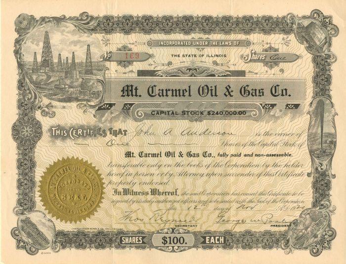Mt. Carmel Oil & Gas Co. - Stock Certificate