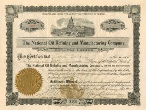 National Oil Refining and Manufacturing Company - Stock Certificate