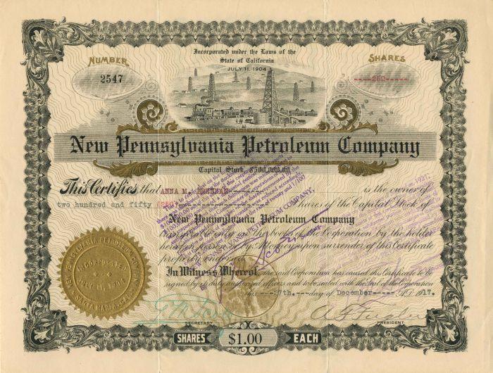New Pennsylvania Petroleum Company - Stock Certificate