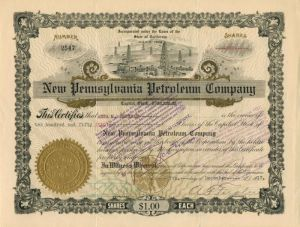 New Pennsylvania Petroleum Company - Stock Certificate