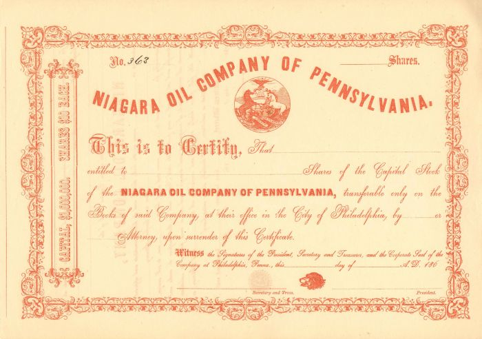 Niagara Oil Company of Pennsylvania - Stock Certificate