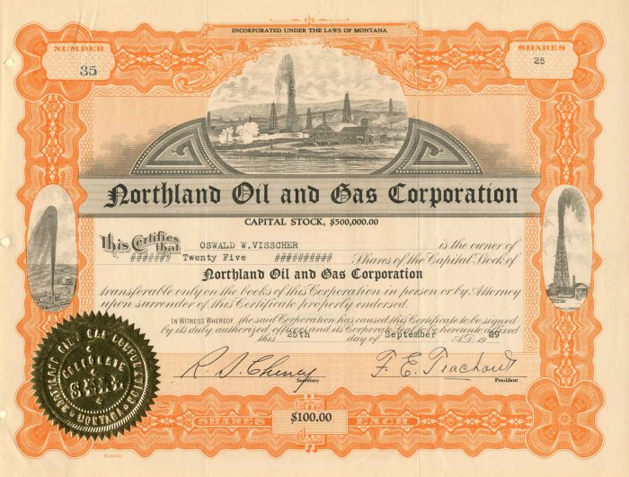 Northland Oil and Gas Corporation - Stock Certificate