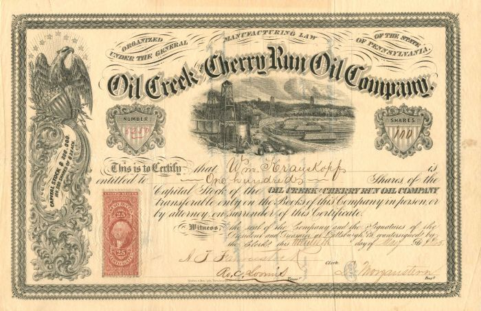 Oil Creek and Cherry Run Oil Company - Stock Certificate