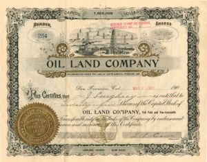 Oil Land Company - Stock Certificate
