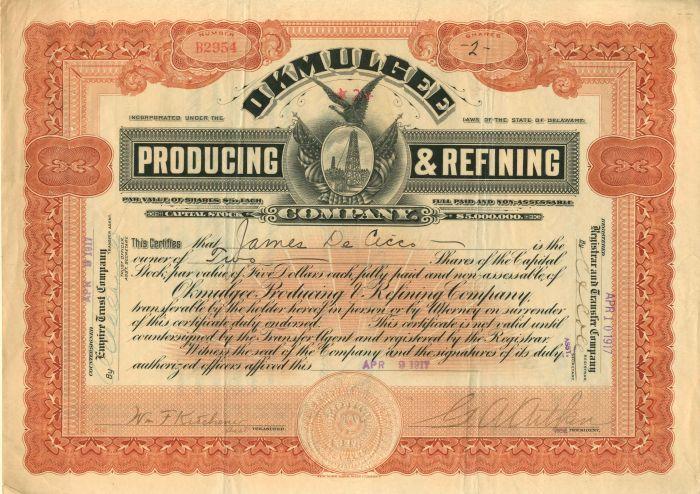 Okmulgee Producing & Refining Company - Stock Certificate