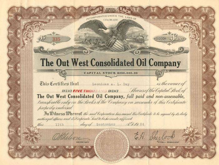 Out West Consolidated Oil Company - Stock Certificate
