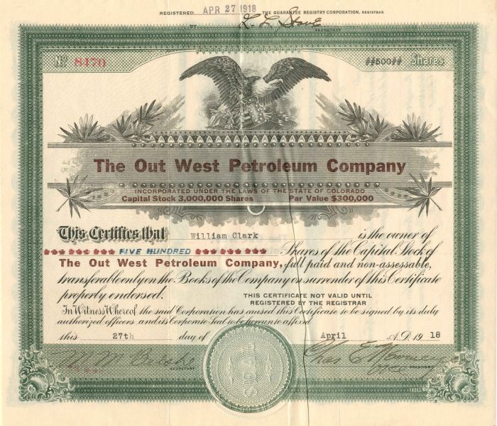 Out West Petroleum Company - Stock Certificate