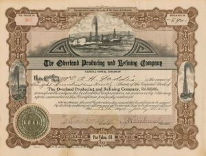 Overland Producing and Refining Company - Stock Certificate