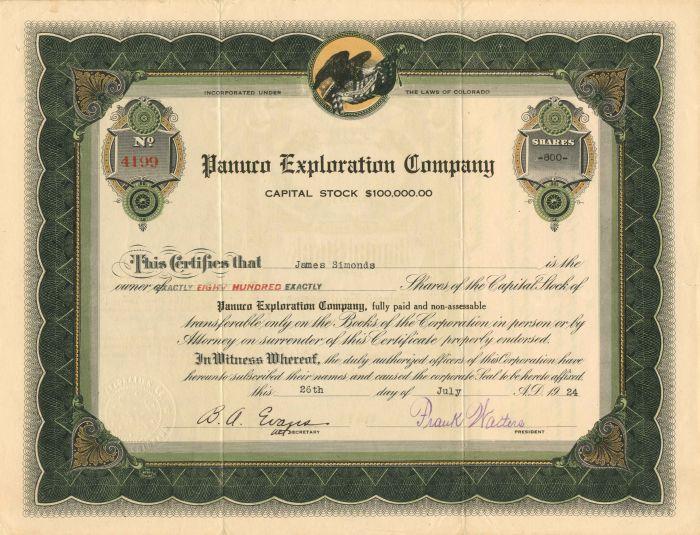 Panuco Exploration Company - Stock Certificate