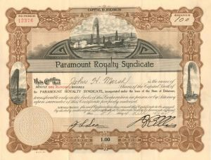 Paramount Royalty Syndicate - Stock Certificate - SOLD