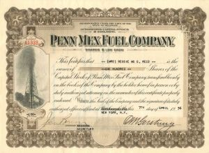 Penn Mex Fuel Company - Stock Certificate